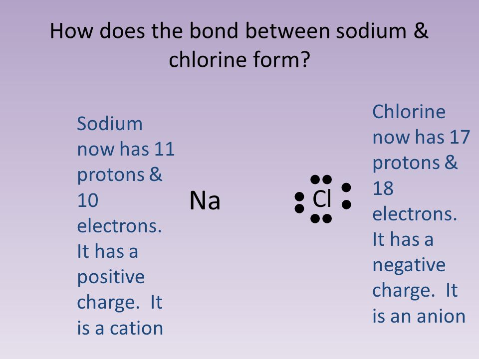 How does the bond between sodium & chlorine form