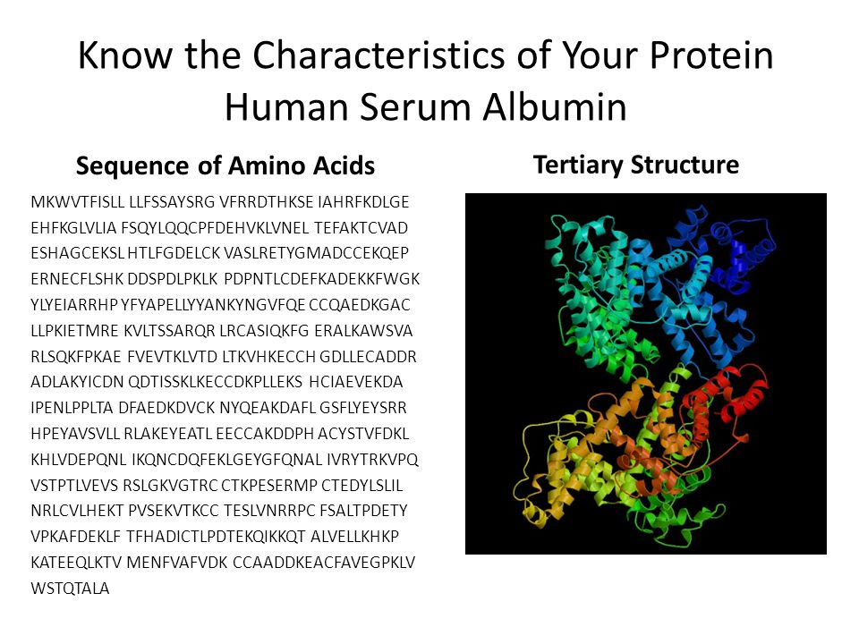 Know the Characteristics of Your Protein Human Serum Albumin