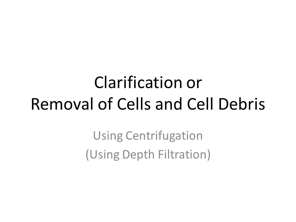 Clarification or Removal of Cells and Cell Debris