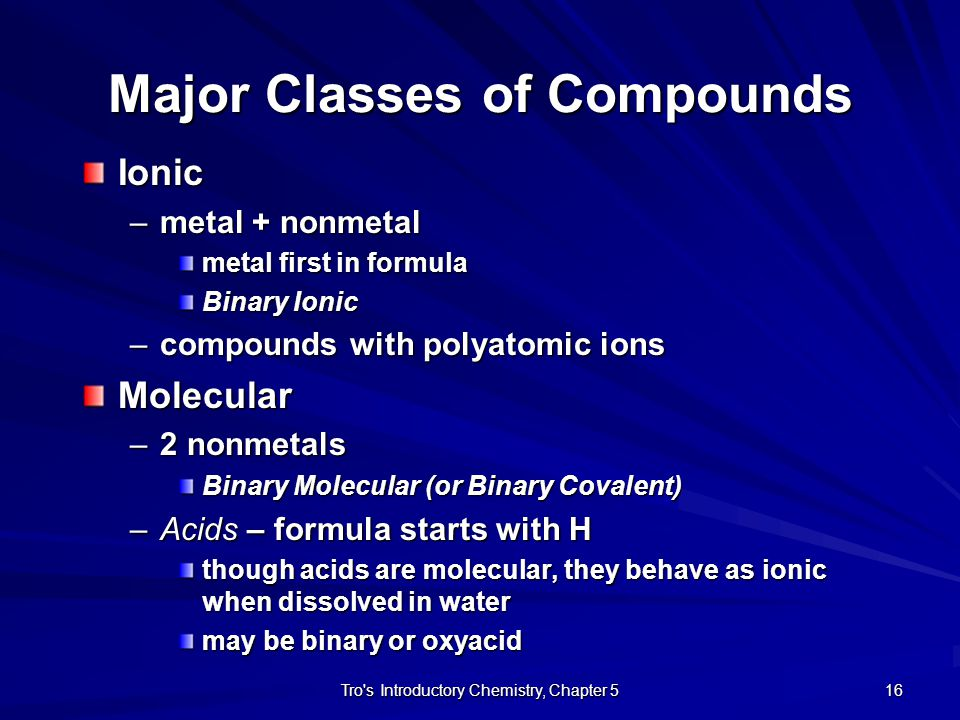 Major Classes of Compounds
