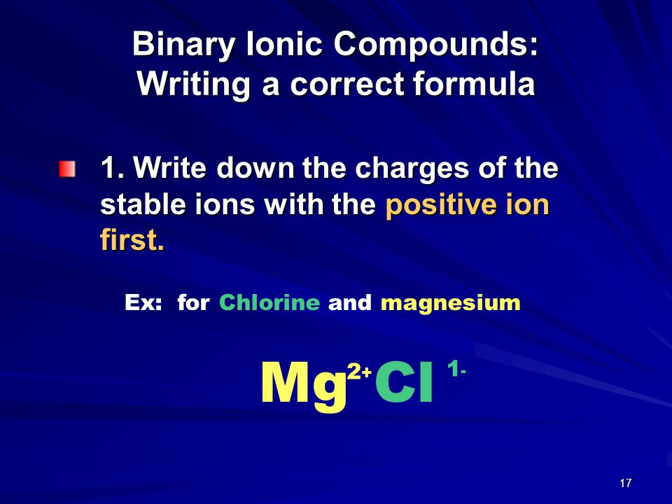 Binary Ionic Compounds: Writing a correct formula