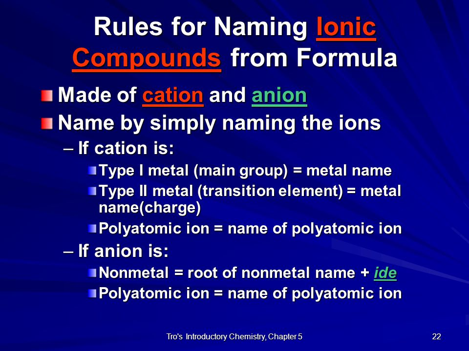 Rules for Naming Ionic Compounds from Formula