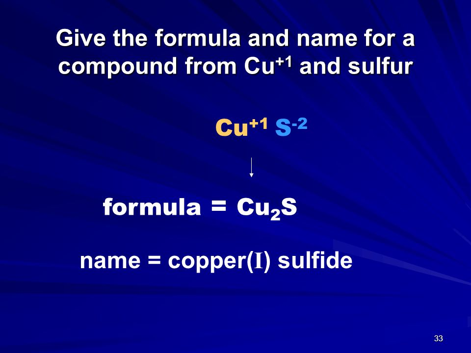 Give the formula and name for a compound from Cu+1 and sulfur