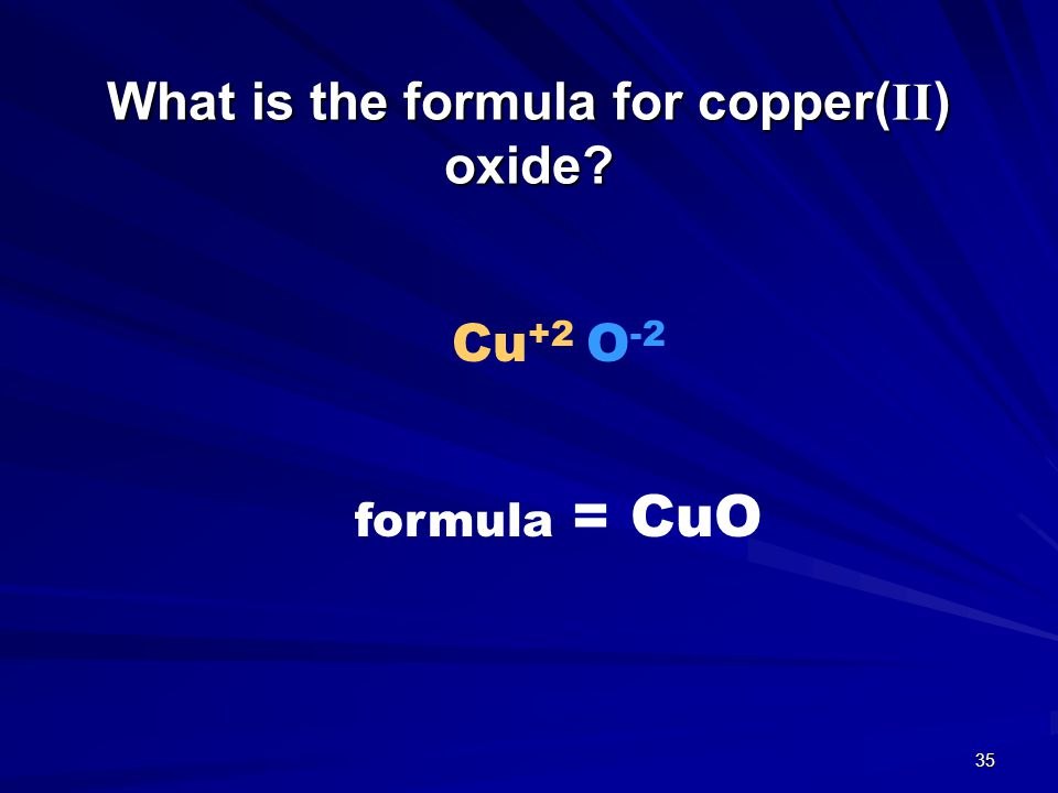 What is the formula for copper(II) oxide