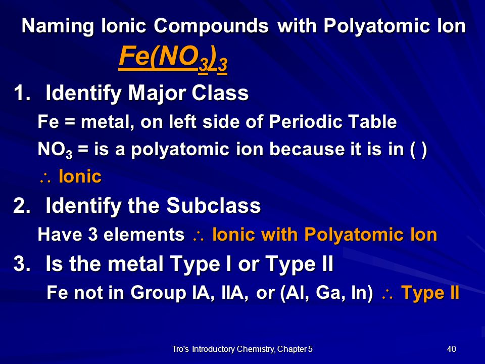 Naming Ionic Compounds with Polyatomic Ion Fe(NO3)3