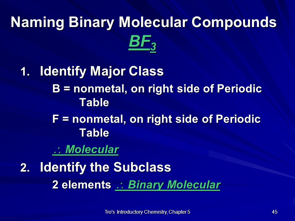 Naming Binary Molecular Compounds BF3