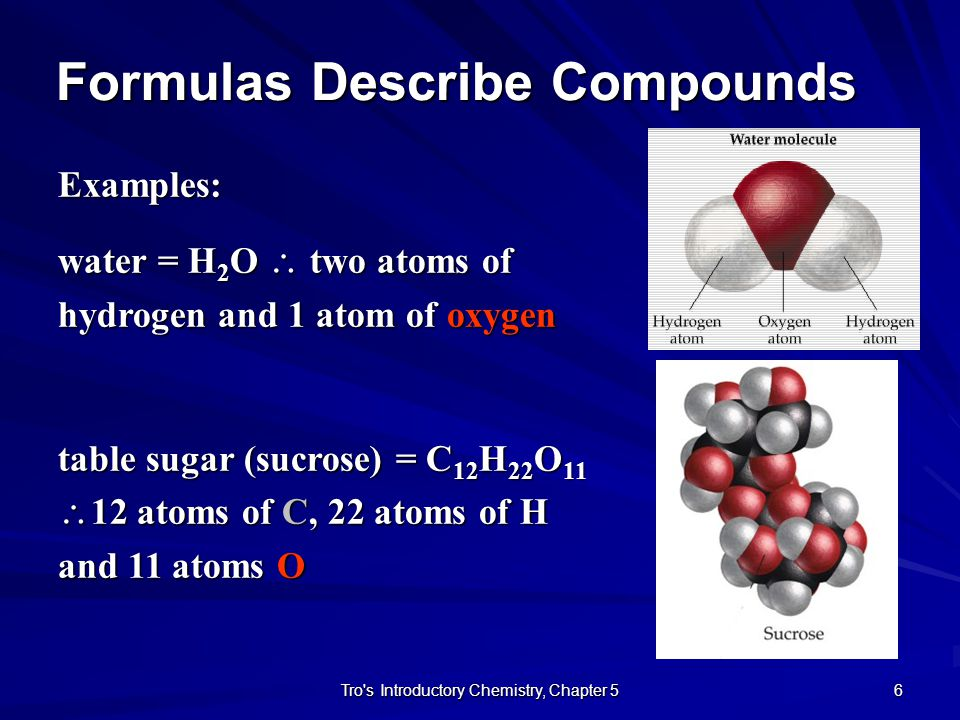 Formulas Describe Compounds