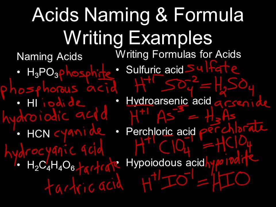 Acids Naming & Formula Writing Examples