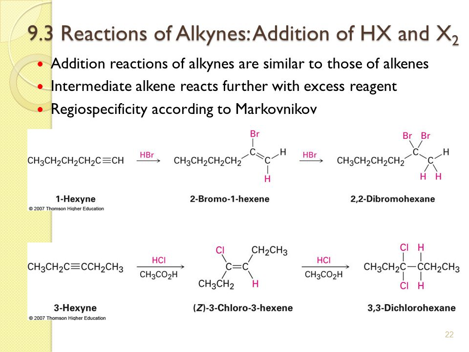 9.3 Reactions of Alkynes: Addition of HX and X2