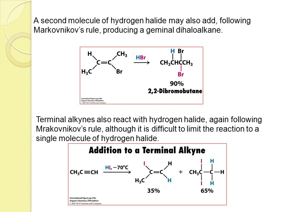 A second molecule of hydrogen halide may also add, following Markovnikov's rule, producing a geminal dihaloalkane.