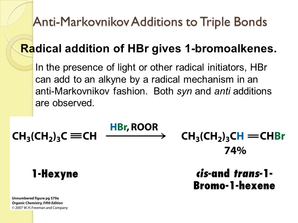 Anti-Markovnikov Additions to Triple Bonds