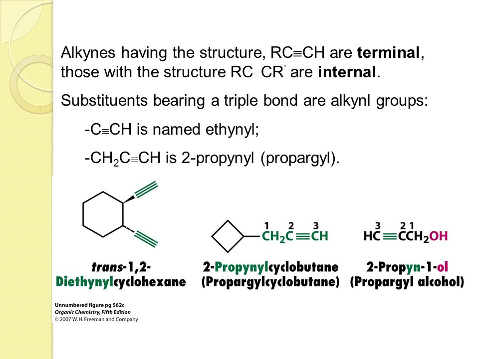 Alkynes having the structure, RCCH are terminal, those with the structure RCCR' are internal.