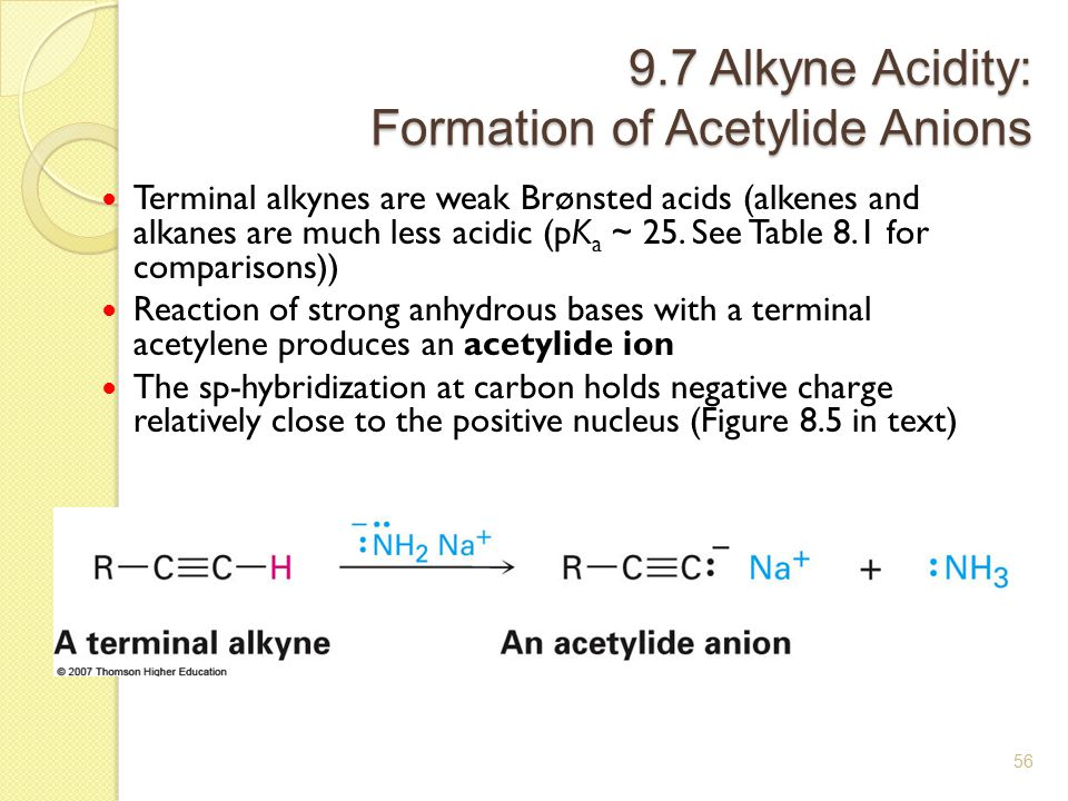 9.7 Alkyne Acidity: Formation of Acetylide Anions