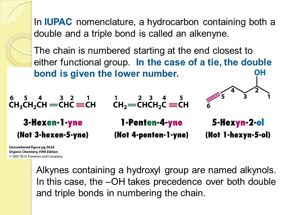In IUPAC nomenclature, a hydrocarbon containing both a double and a triple bond is called an alkenyne.