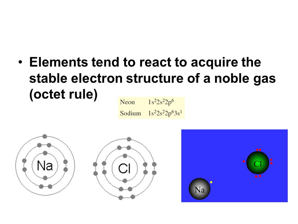 Elements tend to react to acquire the stable electron structure of a noble gas (octet rule)