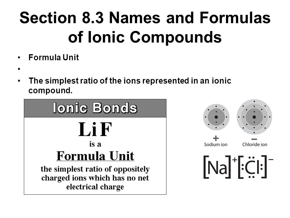 Section 8.3 Names and Formulas of Ionic Compounds
