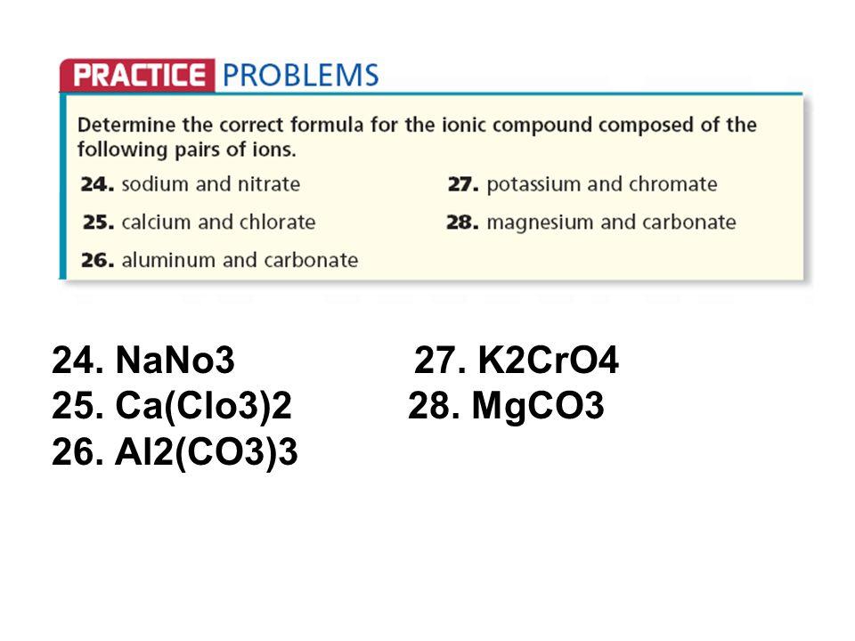 24. NaNo3 27. K2CrO4 25. Ca(Clo3)2 28. MgCO3 26. Al2(CO3)3