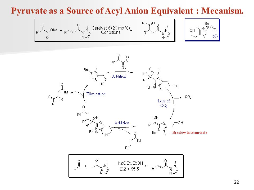 Pyruvate as a Source of Acyl Anion Equivalent : Mecanism.