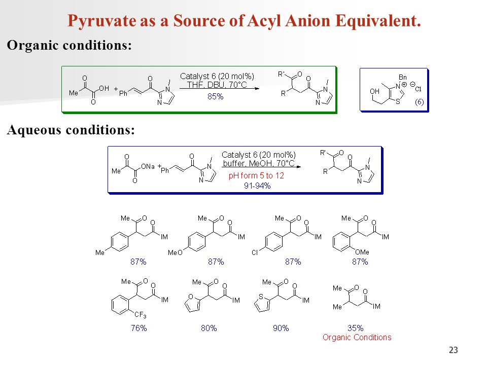 Pyruvate as a Source of Acyl Anion Equivalent.