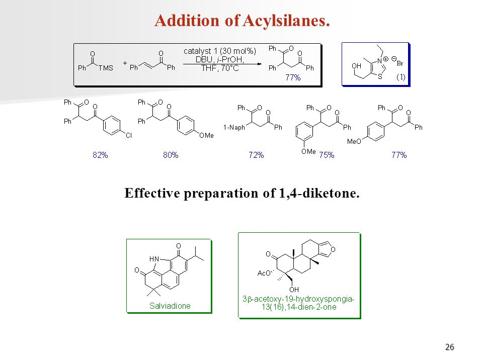 Addition of Acylsilanes. Effective preparation of 1,4-diketone.