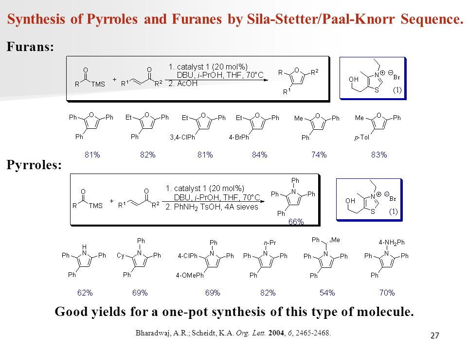 Synthesis of Pyrroles and Furanes by Sila-Stetter/Paal-Knorr Sequence.