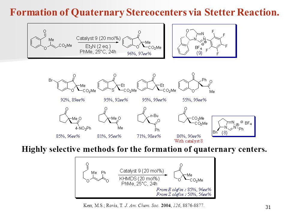 Formation of Quaternary Stereocenters via Stetter Reaction.