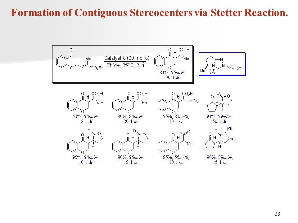 Formation of Contiguous Stereocenters via Stetter Reaction.