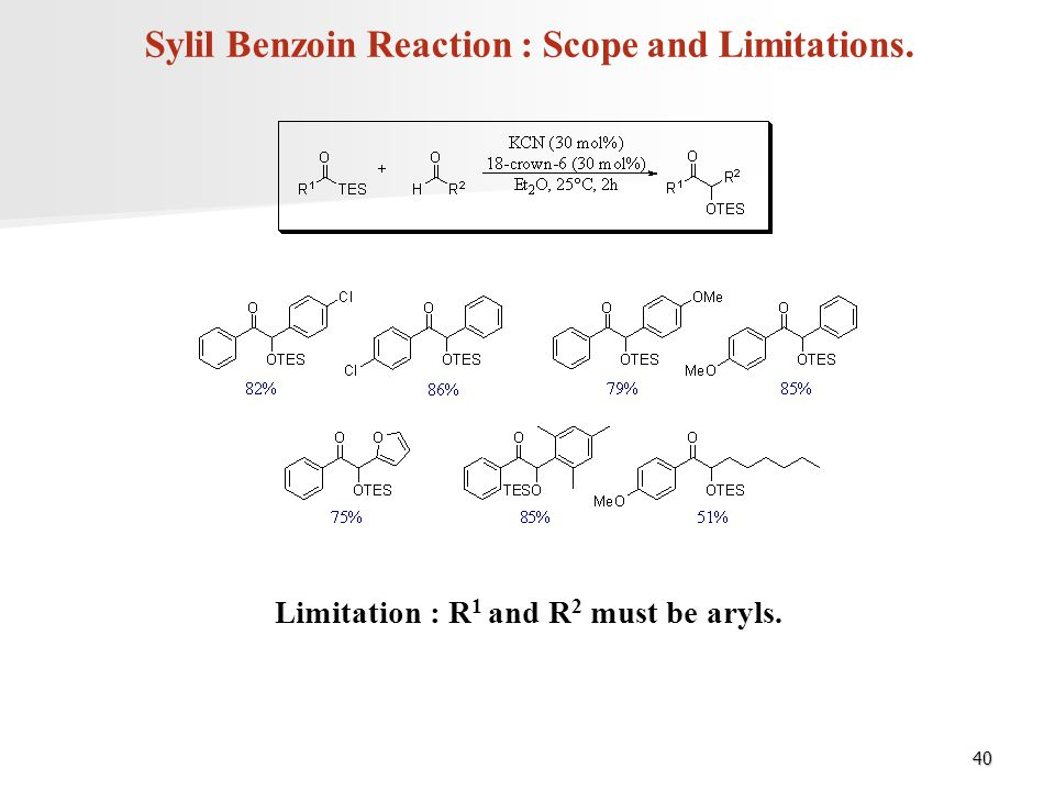Sylil Benzoin Reaction : Scope and Limitations.