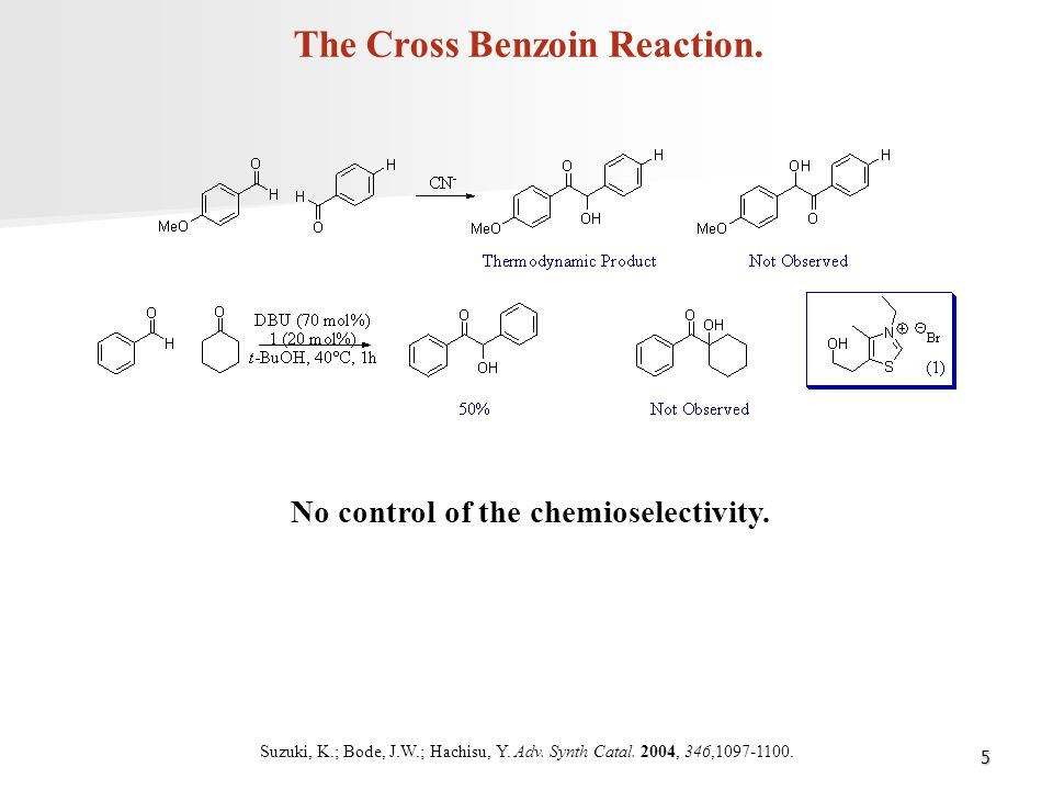 The Cross Benzoin Reaction. No control of the chemioselectivity.