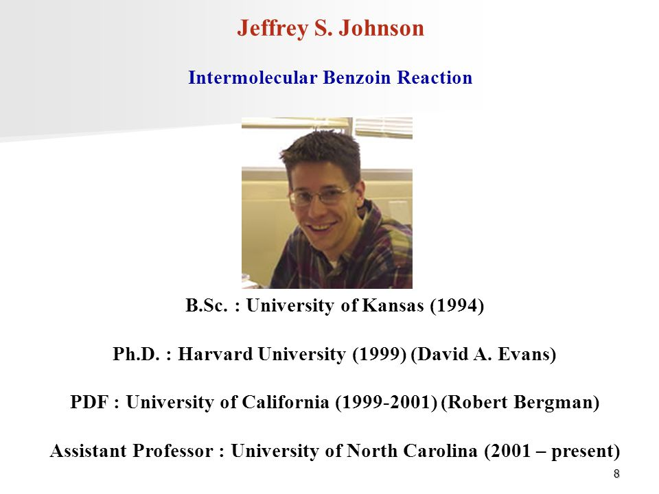 Jeffrey S. Johnson Intermolecular Benzoin Reaction