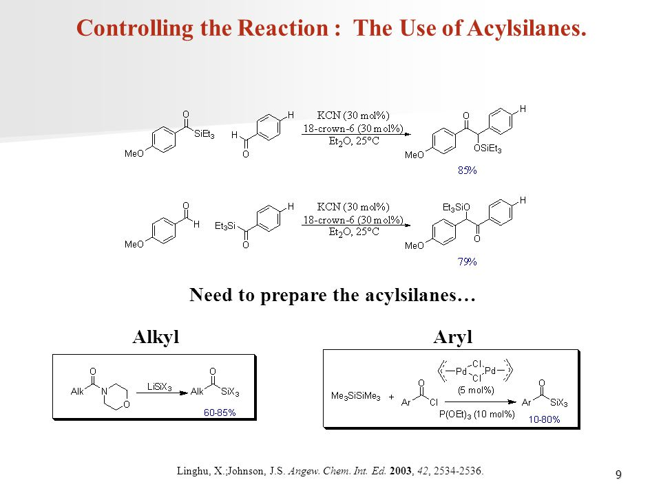 Controlling the Reaction : The Use of Acylsilanes.