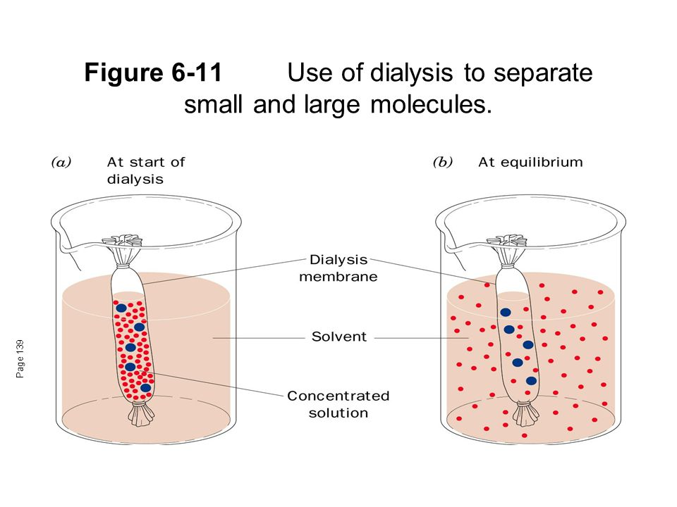 Figure 6-11 Use of dialysis to separate small and large molecules.