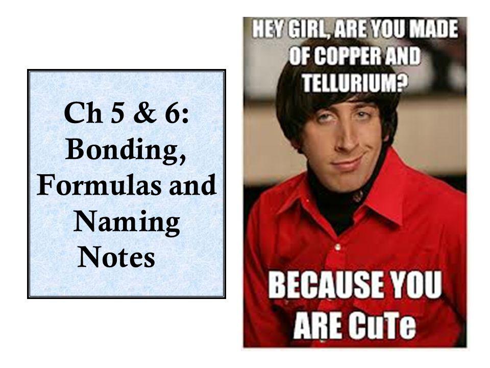 Ch 5 & 6: Bonding, Formulas and Naming Notes
