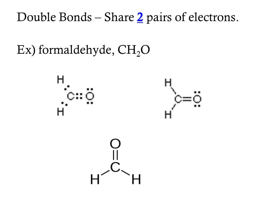 Double Bonds – Share 2 pairs of electrons.