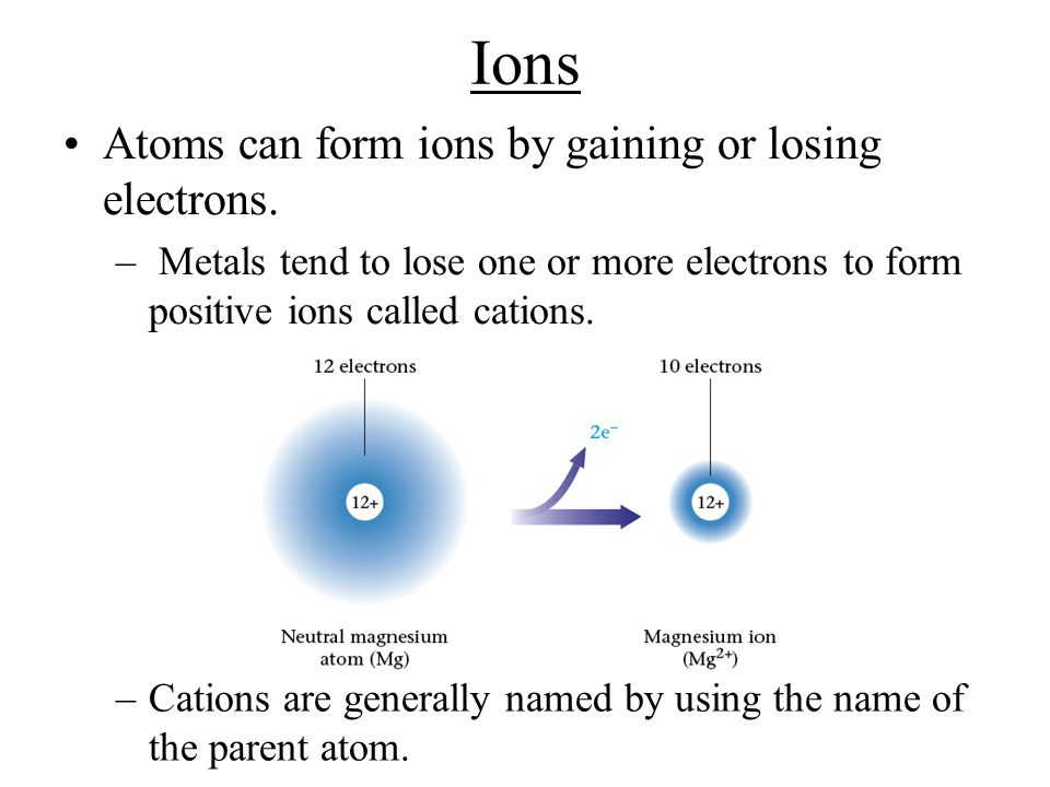Ions Atoms can form ions by gaining or losing electrons.