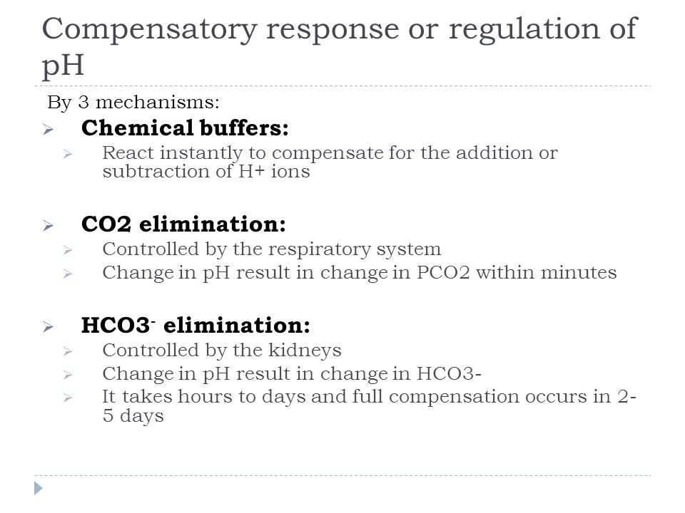 Compensatory response or regulation of pH
