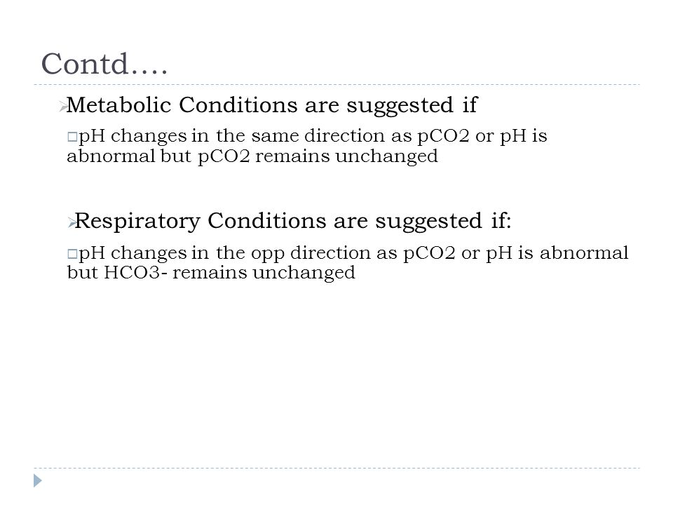 Contd…. Metabolic Conditions are suggested if