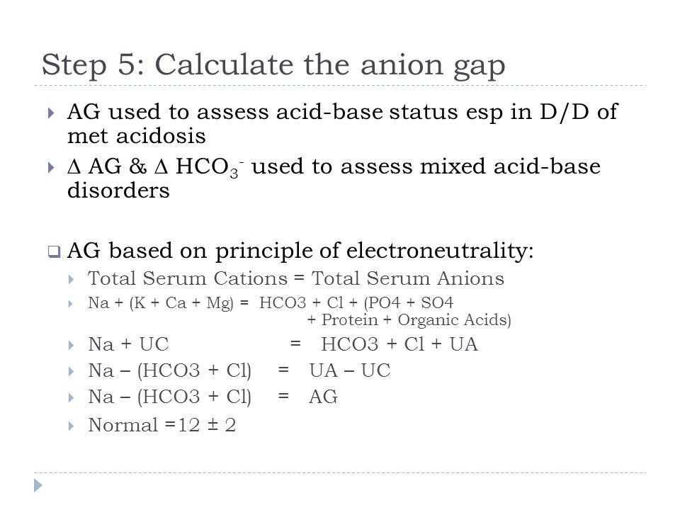Step 5: Calculate the anion gap