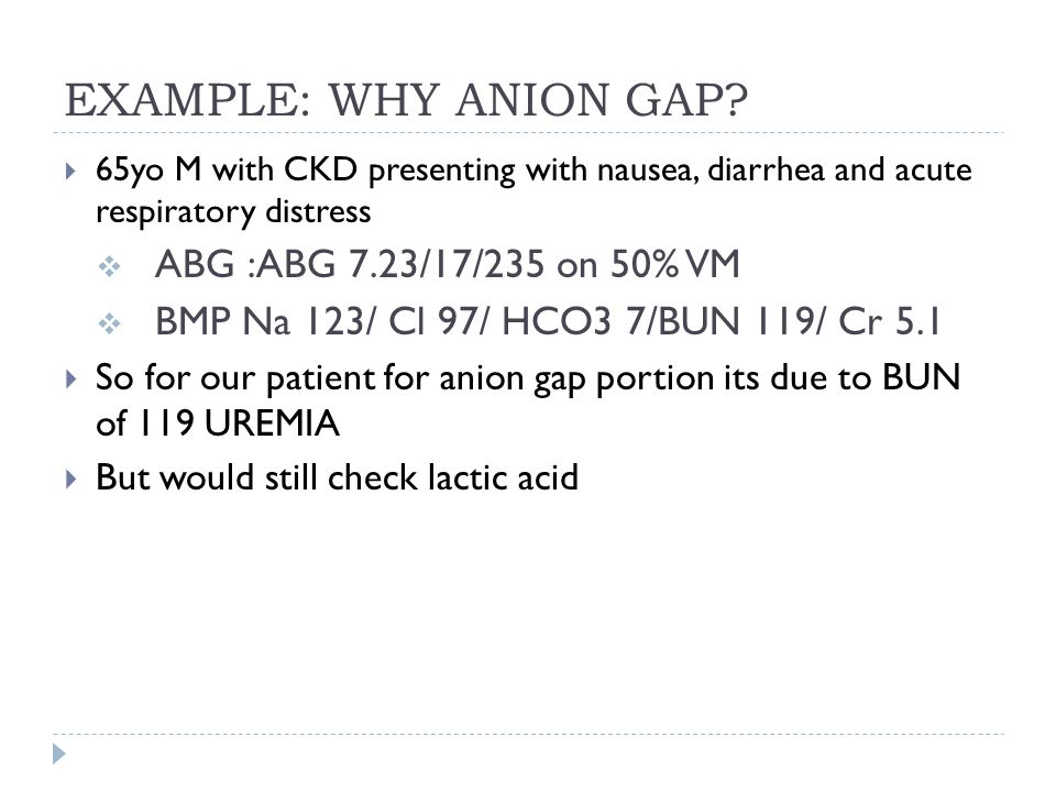 EXAMPLE: WHY ANION GAP ABG :ABG 7.23/17/235 on 50% VM