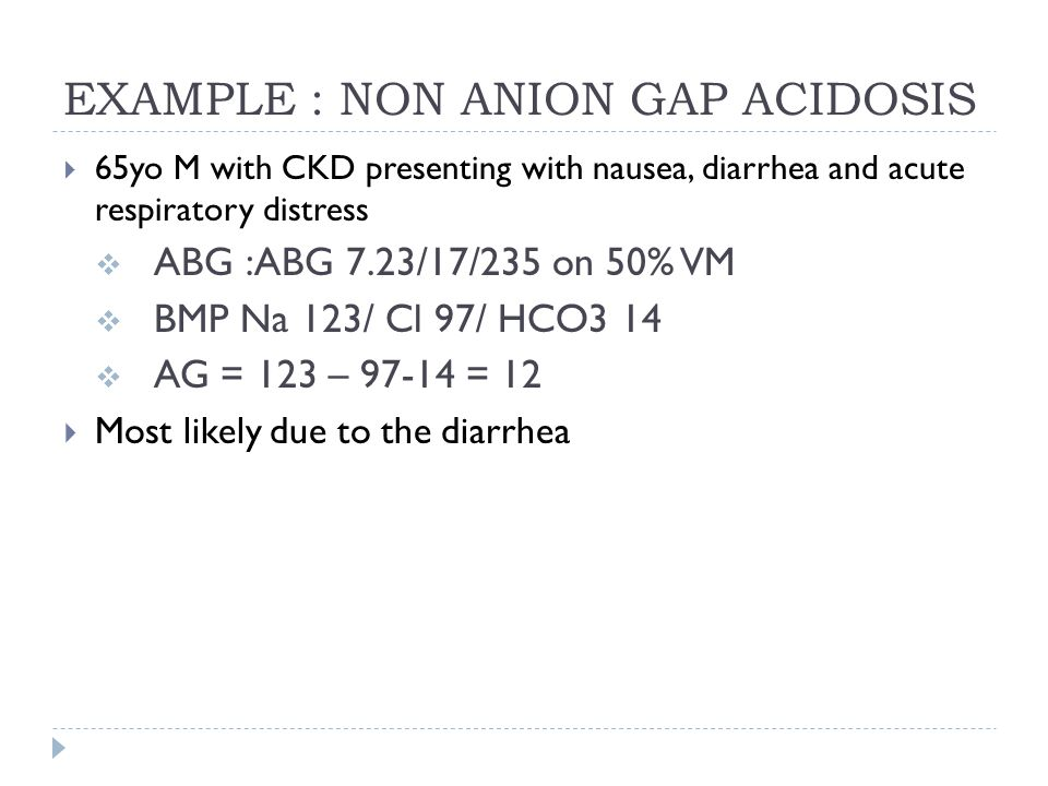 EXAMPLE : NON ANION GAP ACIDOSIS