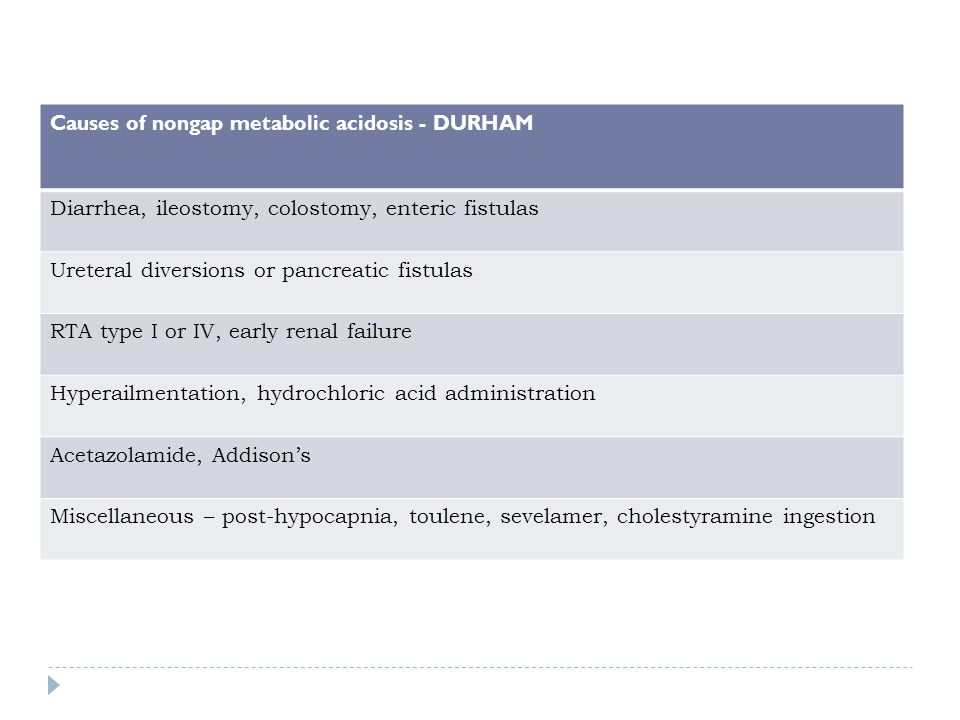 Causes of nongap metabolic acidosis - DURHAM