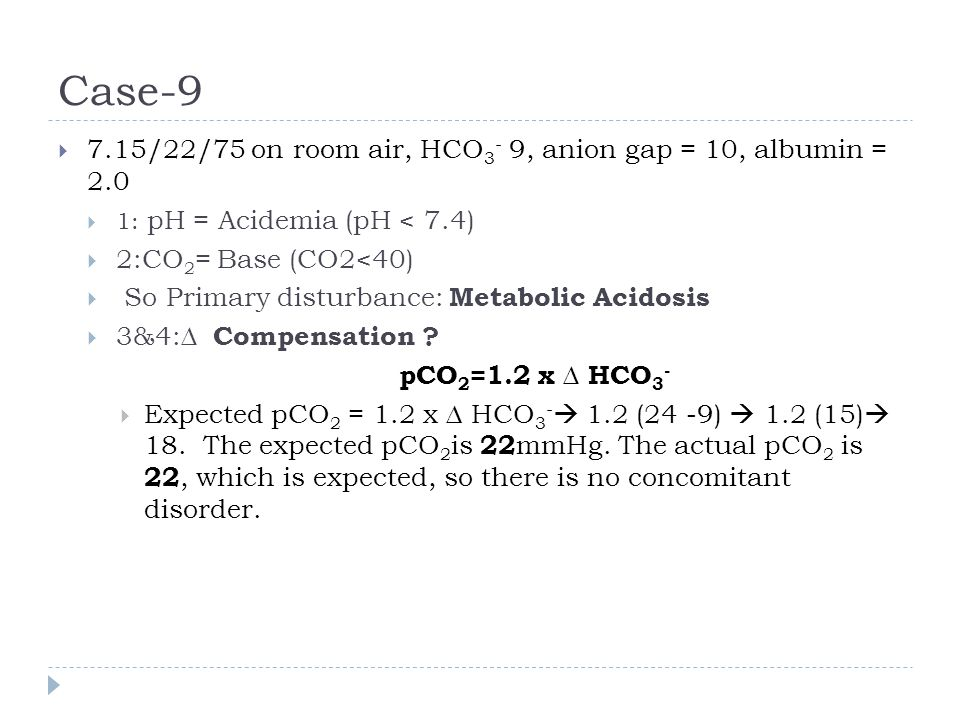 Case-9 7.15/22/75 on room air, HCO3- 9, anion gap = 10, albumin = 2.0