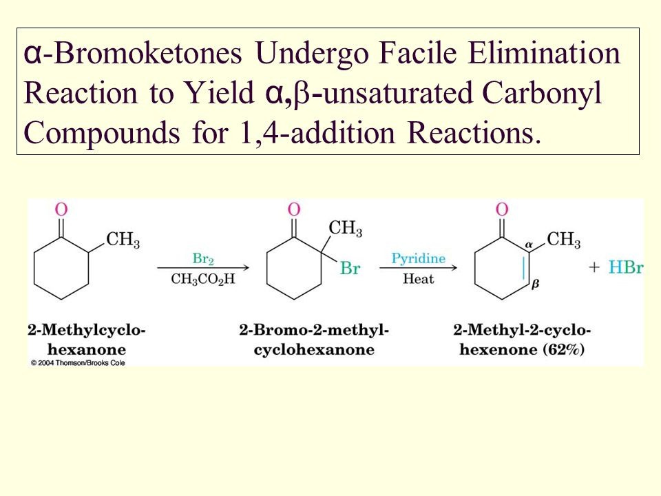 α-Bromoketones Undergo Facile Elimination Reaction to Yield α,b-unsaturated Carbonyl Compounds for 1,4-addition Reactions.