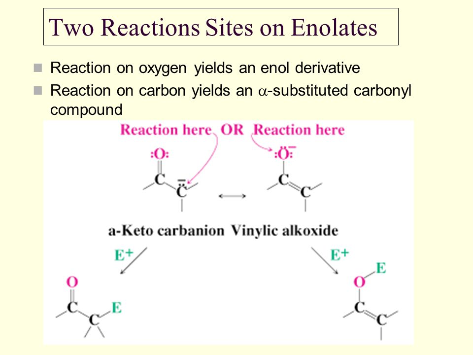 Two Reactions Sites on Enolates