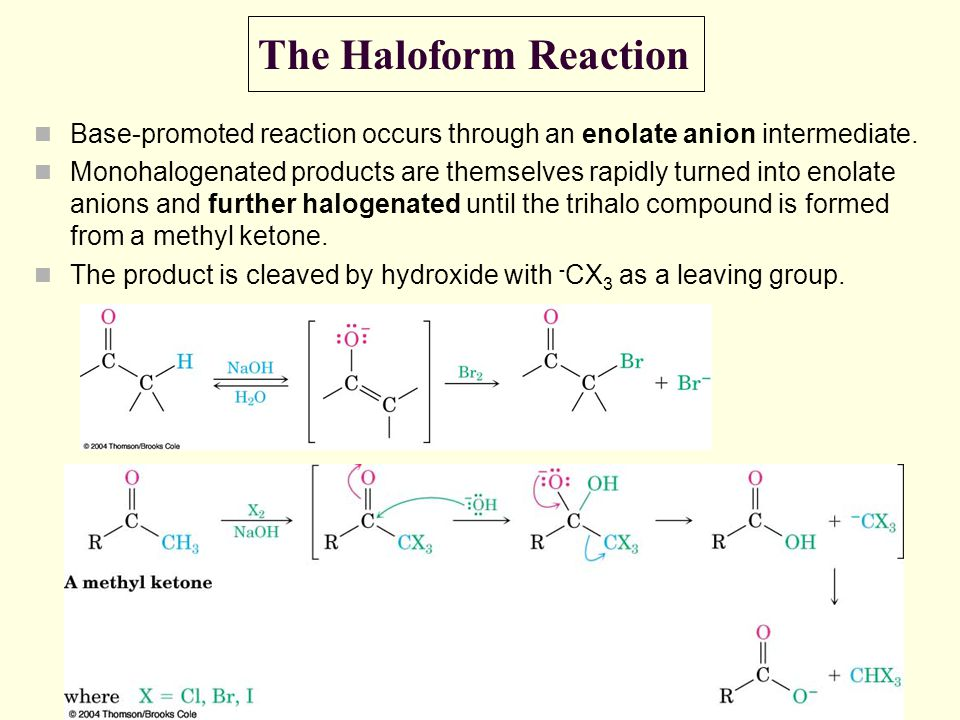 The Haloform Reaction Base-promoted reaction occurs through an enolate anion intermediate.