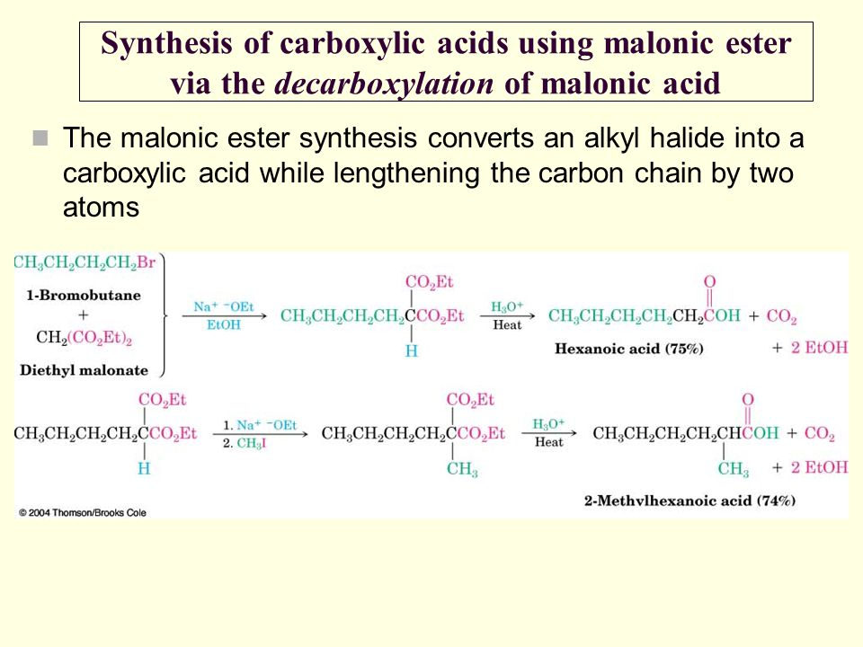 Synthesis of carboxylic acids using malonic ester via the decarboxylation of malonic acid