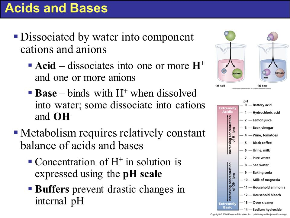 Acids and Bases Dissociated by water into component cations and anions