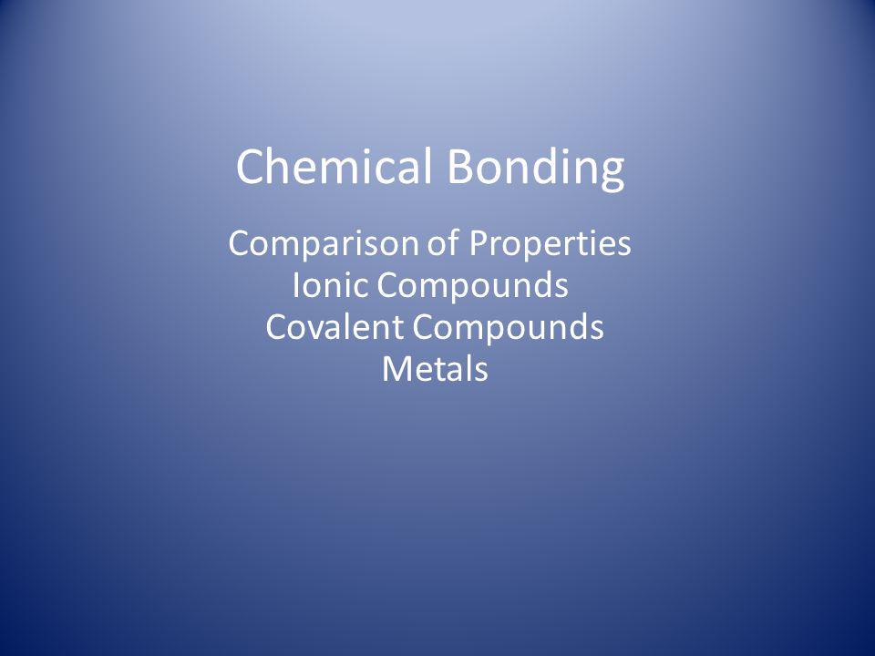 Comparison of Properties Ionic Compounds Covalent Compounds Metals