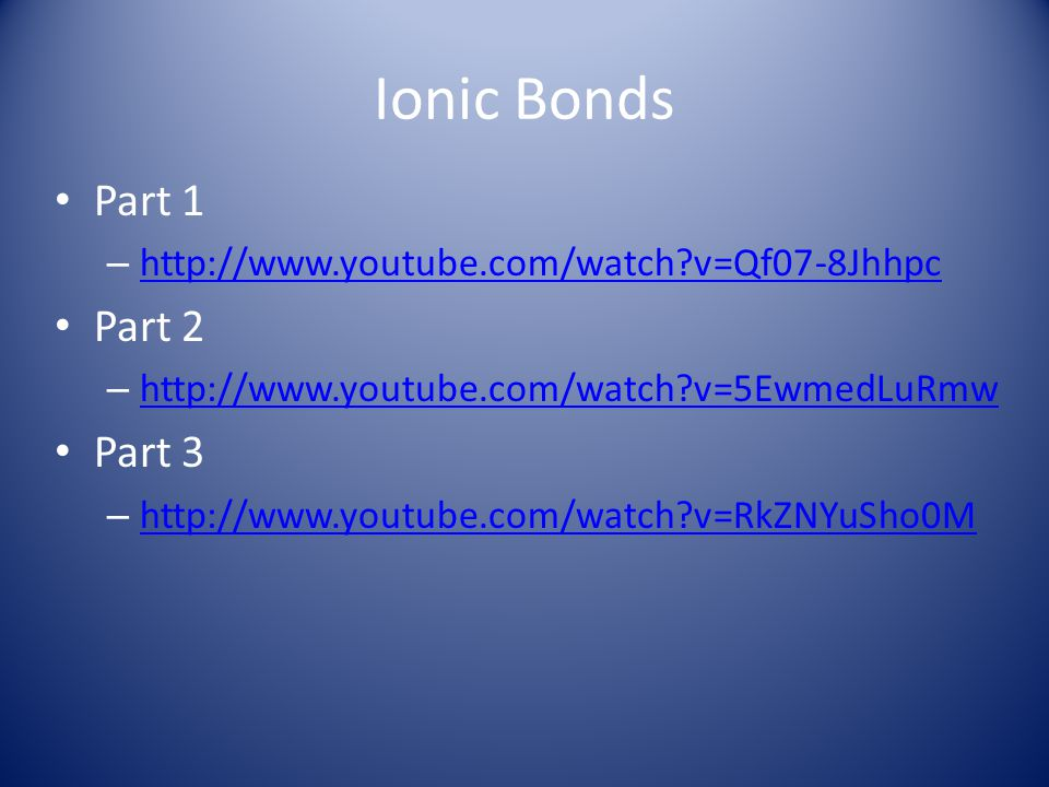 Ionic Bonds Part 1 Part 2 Part 3