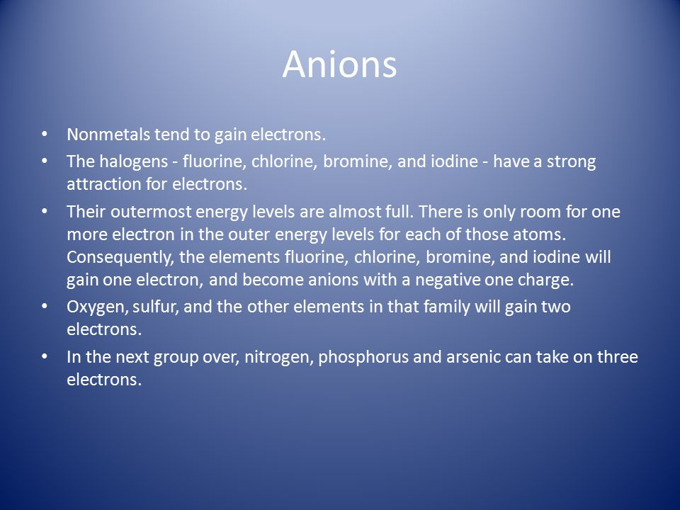 Anions Nonmetals tend to gain electrons.